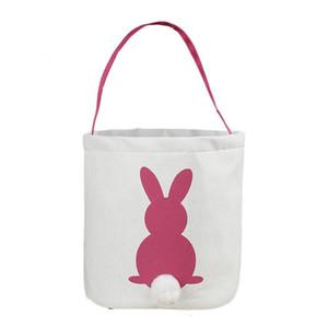 Cute Easter Rabbit Basket Round Canvas Gift bag cartoon cute Bunny tails bucket Put Easter Jute rabbit DIY pail buckets