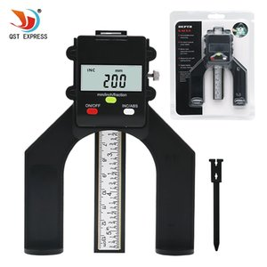Cheap Calibri QSTEXPRESS Digital Depth Gauge digitale di profondità di impronta del calibro LCD magnetica Auto Standing Apertura 80 millimetri a mano Router