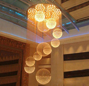 Modern Große Kristallleuchter-Licht-Regen-Tropfen-Kristallbereich Leuchte Decke Lange Kristalltreppenlampe Flush Mounted Treppen Leuchten