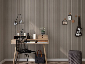 Atacado- escuro Plain cinza papel de parede listrado vertical, à prova de água de PVC cor sólida wallpaper Engenharia roupas papel de Parede para Quarto