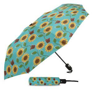 Мультфильм Цветочные подсолнечника Три складной зонтик Ветер Устойчив Складной Полностью автоматический зонт Солнечный и Дождливый зонтик