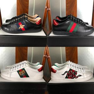 Kutu ile Işlemeli Çizgili Arı Yılan Beyaz Siyah Tasarımcı Erkekler Kadınlar Için Hakiki Deri Ayakkabı Lüks Sneakers Rahat Ayakkabılar Boyutu 35-46