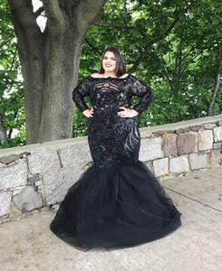 Artı Boyutu Siyah Gelinlik Modelleri Mermaid 2019 Yeni Tasarım Uzun Kollu Ful Payetli Dantel Örgün Akşam Parti Elbiseler Mezuniyet Elbiseleri