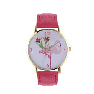 2018 뉴 로즈 골드 플라밍고 석영 시계 명품 시계 여성용 시계 팔찌 패션 PU 가죽 손목 시계 팜므 Reloj