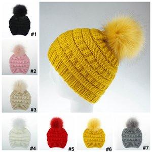 Quente Inverno Crianças Gorro Loja Baby Pom Pom grande Fur bola Wool Hat Crânio Beanie senhoras plain Crochet Ski Outdoor Caps LJJA3088