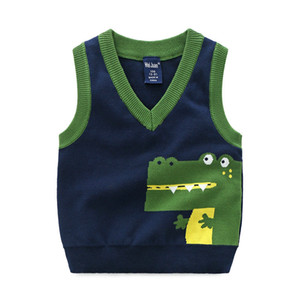 Fashion style Kids boys pullover knitted vest coat Boys Crochet Cotton Crocodile vest Children top quality sleeveless sweaters