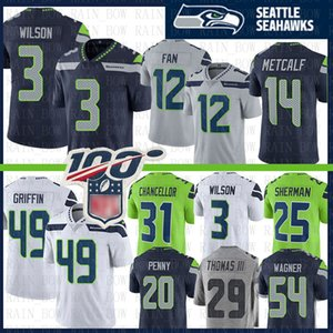 Seattle 3 Russell Wilson Jersey Seahawk 14 DK Metcalf 12 Fan 12s 49 Shaquem Griffin 31 Kam Chancellor Bobby Wagner Rashaad Penny Thomas