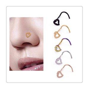 Jóias Body Heart Nose Rings Screw Stud Piercing Aço inoxidável Nose Abrir Hoop Anel Brinco Studs Penetrante Anel Body Arts