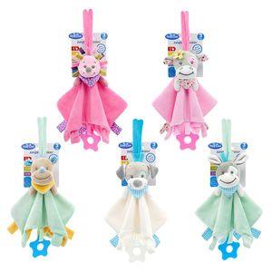 Lovely Baby Suave Animal Plush Boneca Toy Teethers infantil Appease Toalha Grasping chocalhos Playmates Toys calmas
