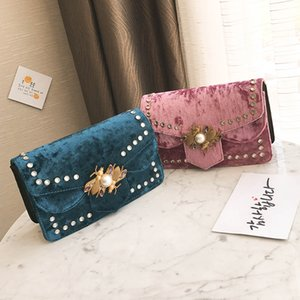 Designer-new arrival women bags designer handbags velvet shoulder bags chain rivet crossbody bag female 2017 suede purse bag fashion sac