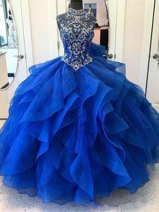 Şaşırtıcı! Parlak Kristal Boyun Balo Elbise Mavi Organze Quinceanera Elbiseler Zarif Akşam Resmi Elbiseler 2019 Prenses Tatlı 16 Elbiseler