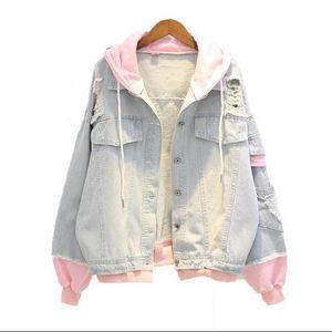 Sonbahar Kapüşonlu Denim Ceket Kadınlar Için Rahat Bf Kot Ceket Delik Eski Harajuku Ceket Kadın Gevşek Streetwear Temel Mont T190817