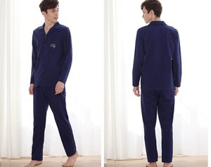 Factory direct sales autumn new couples cardigan long sleeves knitting men modal cotton pajamas-803