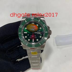 Mens супер завод V10 Версия 904L Cla.3135 Движение Часы Зеленый керамический ободок сапфировое стекло 40мм Дайвинг 116610LV Мужские спортивные часы