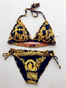 Costume da donna Completo a due pezzi New Summer Gold con costume da bagno nero Sexy Fashion Big Code Bikini Lady Designer Swimsuit