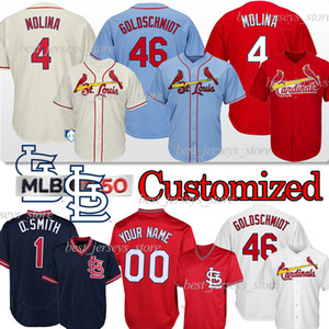 46 Paul Goldschmidt St. Louis Cardinal personalizzato baseball Jersey 4 Yadier Molina 1 Ozzie Smith 25 Dexter Fowler aggiungere maglie 150 °