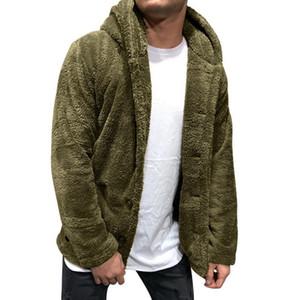 MoneRffi Erkek Erkek Ters Fleece Hoodie Triko İş Casual Kalın Kürk Yaka Kış Sahte Biker Coats Windproof Isınma