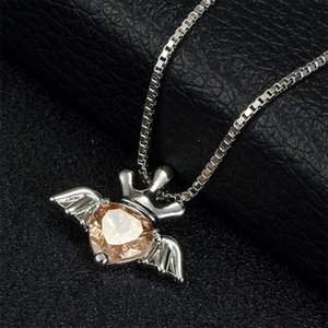 Europe Necklaces for Women Ladies Girls Heart Crown Pendant with Angel Wings Crystal Jewelry Valentine's Day Gift