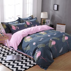 Kids and Adult Flamingo Duvet Cover Set of 4 with Sheets Pillow Case King size Bedding Set  Fashion Bedding Home Textiles