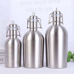 2L 64 oz Hip Flask paslanmaz çelik Bira Growler Flip Top Büyük kapasiteli 2 Litre bira şişesi ile salıncak üst 2L tek duvar bira varil fıçı