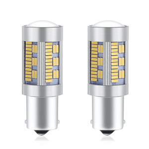 LED 2PCS 1156 P21W BA15S BAU15S PY21W T20 7440 Canbus Sem Hiper o Flash Car Bulb 2880Lm Vire sinal de luz reversa 4014SMD 105SMD Âmbar