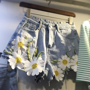 Nevettle bordado floral pantalones cortos de mezclilla verano mujer de talla grande pantalones vaqueros de pierna ancha pantalones cortos Y19050905