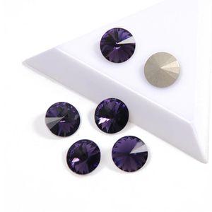 YANRUO 1122 Crystals melhor cor Qualidade veludo roxo Rivoli Fantasia Rhinestone Pointback strass para Nails Art Gems