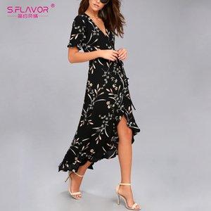 S. FLAVOR 2019 Primavera verano Vestido largo Moda Vestido con cuello en v Vestido elegante de las mujeres vestidos de manga corta