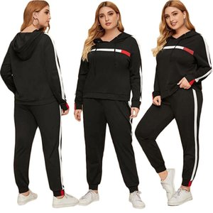 Women Plus Size XL-4XL Tracksuit 2 Piece Set Hoodies+Pants Hooded Sports Suit Panelled Outfits Shirt+Leggings Fall Winter Clothing 2374