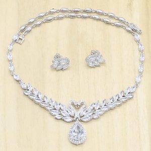 Prata Bridal jóias conjuntos para as mulheres brancas semi-preciosas Colar brincos Presente de aniversário