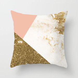 Kopfkissenbezug Marbling Geometric Polyester Sofa Dekorative Glitter Kissenbezug für Hauptdekor 45x45cm Peach Velvet Kissen 18styles RRA2904