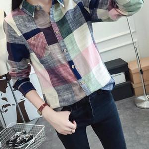 Mode féminine T-shirt manches longues Femme Casual Plaid Femmes Slim Hauts Chemisier Hauts dames Bureau Carrière blusas * Chemise vadim