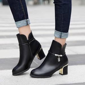 scarpe da donna tacco quadrato stivaletti solida base per le donne stivaletti neri PU stivali di pelle neve botas de mujer 829