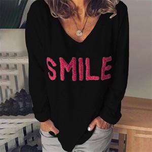 Bordados Verão mulheres camisetas letras impressas V Long Neck luva frouxo Ladies Tops Casual cor sólida Mulher Tees