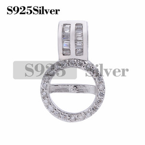 Gift DIY Cubic Zirconia Pearl Findings 925 Sterling Silver Pendant Base for Pearl Jewelry 5 Pieces