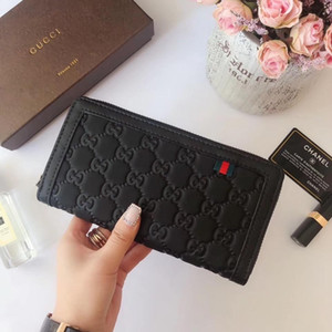 High quality fashion Clutch Bags brand Wallet classic real leather women and men purse 0430