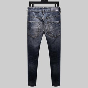 Men's Designer Brand AMI Jeans Classic Hip Hop Pants Designer Jeans Distressed Ripped Biker Jean Slim Fit Motorcycle Denim Jeans Blue