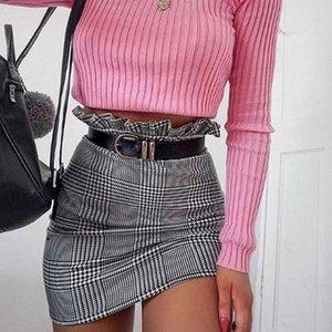 2019 Summer Women Stretch High Waist Plaid Striped Short Skirt Ladies Elegant Mini Skirts Casual Back Zipper Skirt Female Y200704