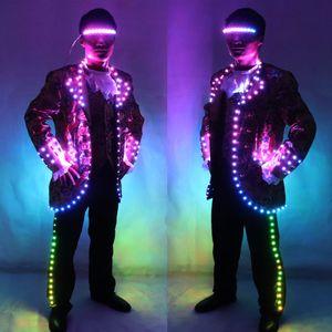 Digitaler Vollfarb-LED Court Anzug IC-Fernbedienung LED-Jacke für Bar-Hosting, Wedding Männer Kleid Kostüm Tron Anzug