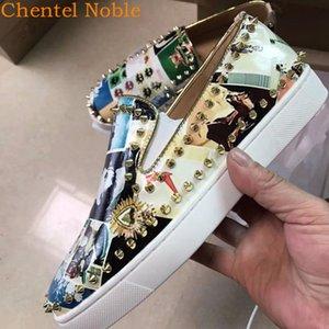 Homens marca Chentel Noble couro enchida ouro Irregular Padrão calçados casuais sapatas do partido Men Alta Qualidade Flats Sneakers Deslizamento-na T200413