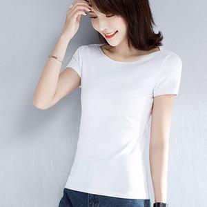 Хлопок Женская футболка O-образным вырезом с коротким рукавом женская рубашка Все матч Леди топ черный белый серый желтый Шир