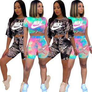2 mujeres del color de dos piezas shorts fija el diseñador chándales de las mujeres Trajes teñido anudada impresión de cultivos camiseta superior Traje de deporte Streetwear DHL