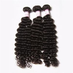 GRAND REMISE 30% de cheveux remy tisse trame indienne profonde vague vierge de cheveux vierge de qualité supérieure vierge indienne vague naturelle profonde ondulée extension de cheveux humains