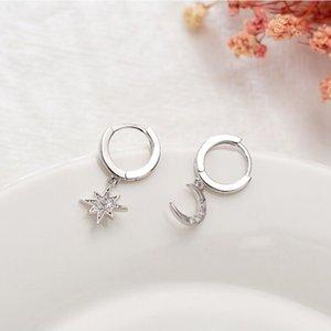 Dominated new 2019 personality asymmetric crystal Star fashion Drop earrings Delicate joker Moon style Women earrings Jewelry