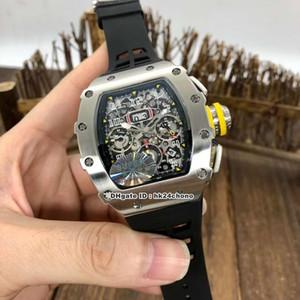 10 Стили Luxury KV Супер RM11-03 Flyback Chronograph ETA7750 Автоматическая Мужские часы Титан Сталь Скелет циферблат каучуковый ремешок мужские часы