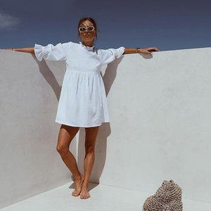 Dabourfeel Casual moitié papillon manches volantée Collier Mini robe Mesdames A-ligne Summer Party Dress Vestidos 2020 nouvelle mode