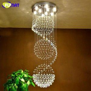 Fumat K9 lustres de cristal Villa Sala Grande Suspension Chandelier Lamp Escadas Luster Luz Led candelabro de cristal