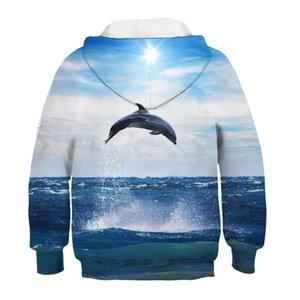 Синий Солнечный Sky Sea Перейти Дельфин Печать Дети Толстовки Зима Топы мальчиков / девочек 3D Кофты Одежда для младенцев Детские пуловеры