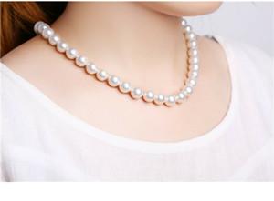Collana dei monili delle donne della moda di New White Pearl Necklace Set per il regalo dei monili della catena signore collana agata verde maglione bianco perla