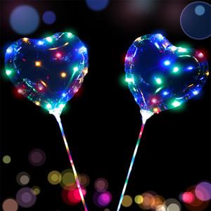 LED Light Up Рождественская елка шары Звезда в форме сердца Четкие бобо шары с LED гирлянд на день рождения Свадебный декор партии
